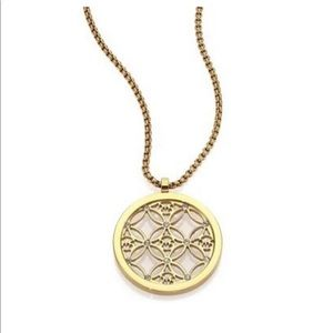 Michaels Kors Gold MK Logo Pendant Necklace
